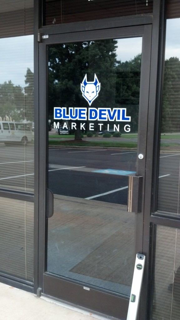 Two Layer Vinyl Door Logo Blue Devil Marketing Signergy