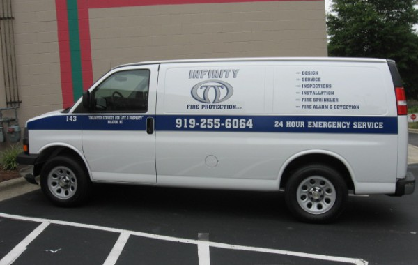 Cut vinyl vehicle graphic – Infinity Fire Protection