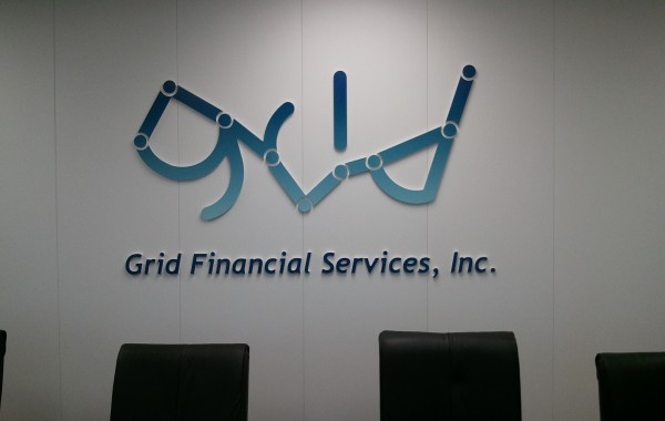 Custom routed, digital print face, interior wall logo – Grid Financial
