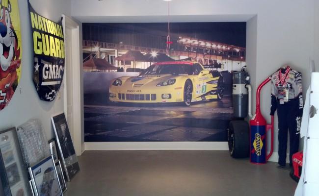 Hendrick garage wall mural