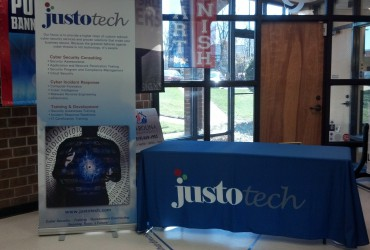 Justotech 3 sided 6ft table throw and retractable banner stand