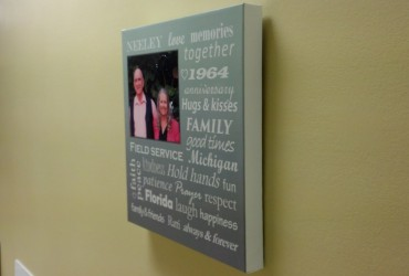 Digitally printed, stretched canvas on custom frames