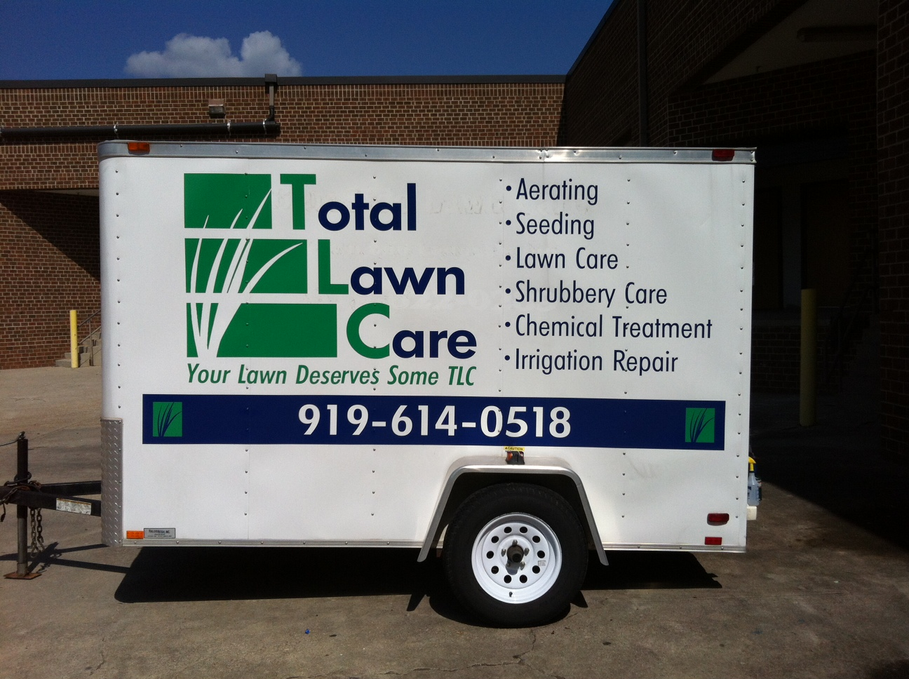 Vinyl Graphics On 8 Enclosed Trailer Total Lawn Care