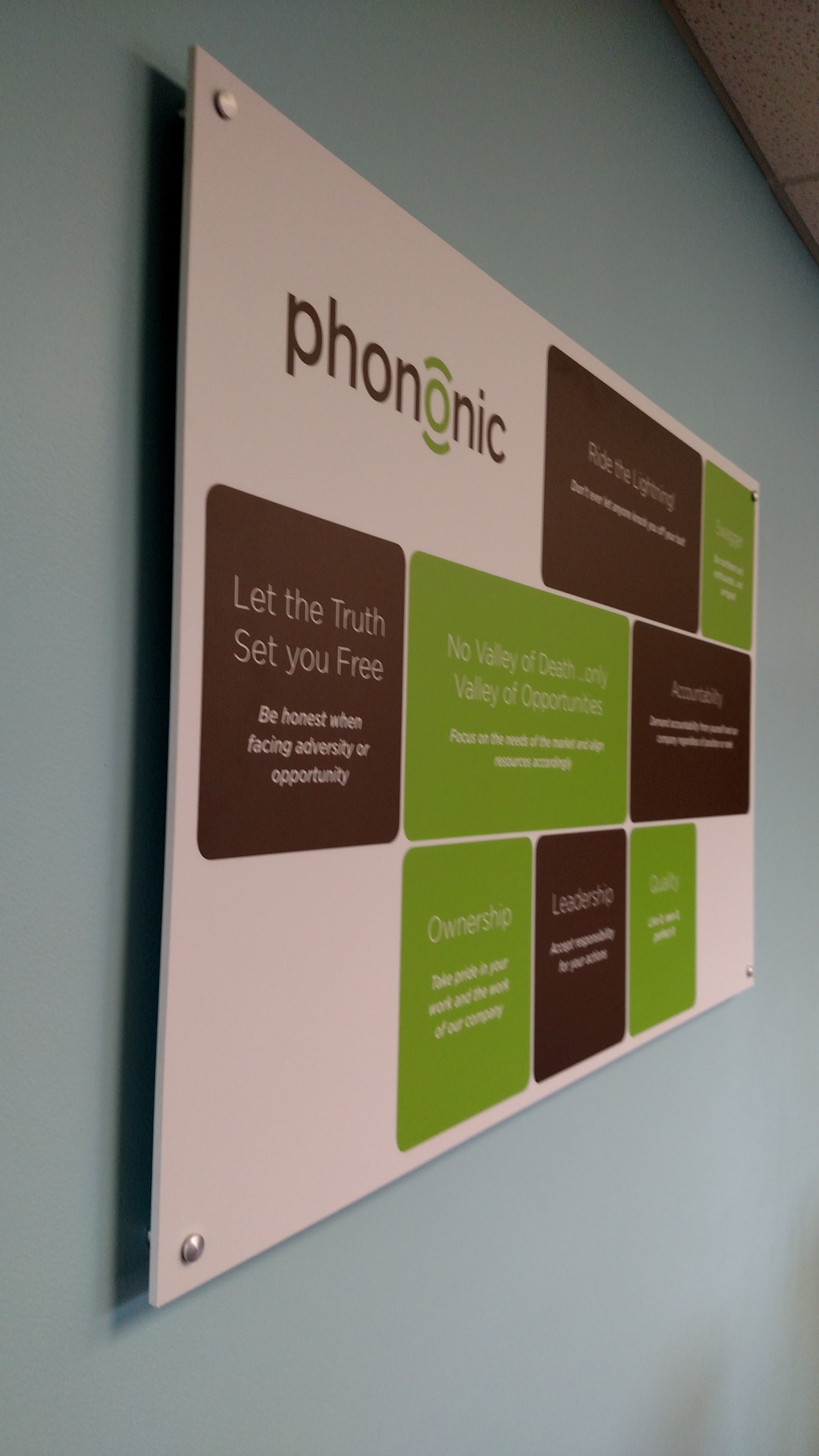 Office Signs Phononic Devices Core Values Posters Signergy